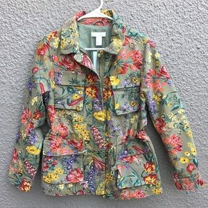 Floral cargo green utility jacket